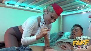 ดูหนังโป๊ออนไลน์ Fake Hostel Flight Attendants in pantyhose surprise young guest